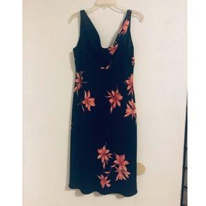 Jones Wear Dresses - Jones Wear Dress 14 Black Floral Hawaiian